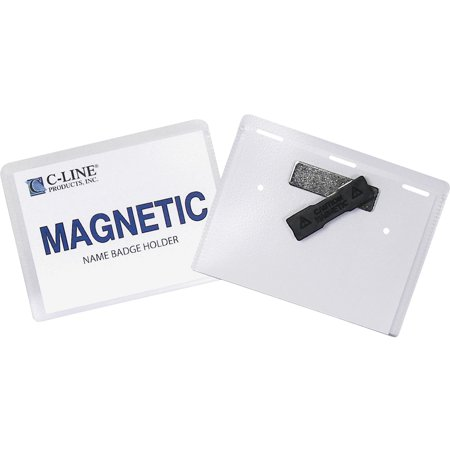 C-Line Magnetic Name Badge Holder Kit, Horizontal, 4w x 3h, Clear, (Line Badge)