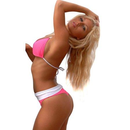d75cb8b00a2 UjENA Sexy Hot Pink Banded Thong Bikini Swimsuit Swim Dress Swimwear -  image 1 of 3 ...