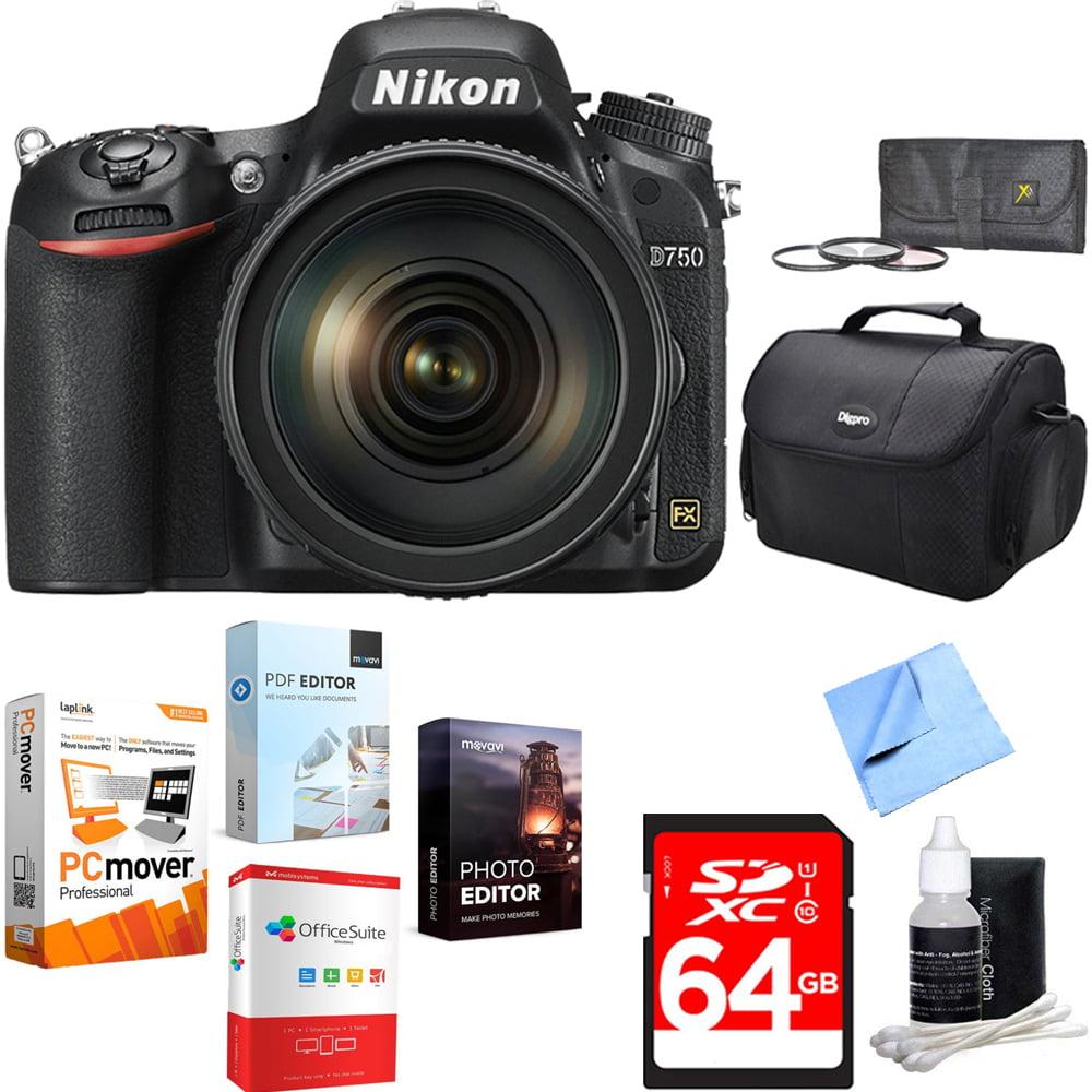 Nikon D750 DSLR 24.3MP Digital Camera w/ AF-S NIKKOR 24-120mm Lens 64GB Card with Elite Suite 18 Standard Editing Software Bundle