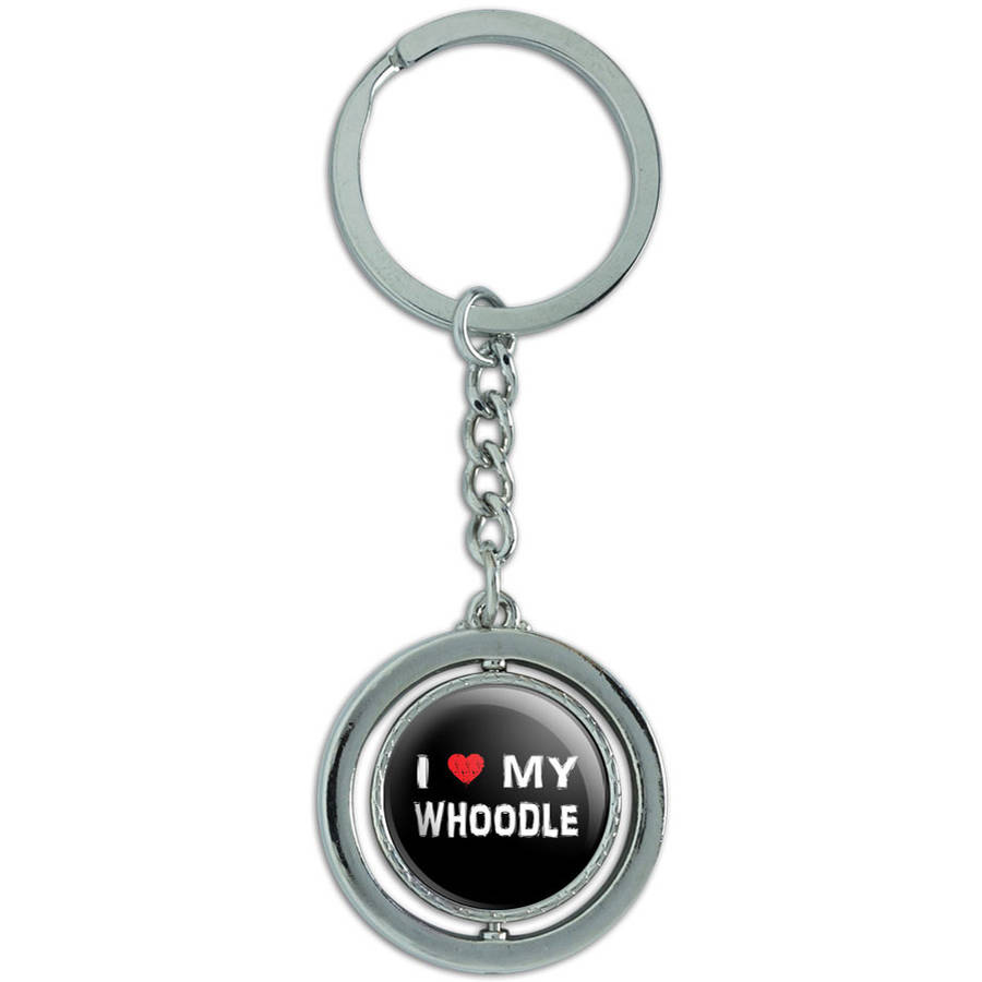 I Love My Whoodle Stylish Spinning Round Metal Key Chain Keychain Ring