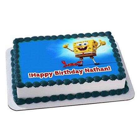 SPONGE BOB Quarter Sheet Edible Photo Birthday Cake Topper ~ Personalized! 1/4 Sheet](Spongebob Cake Toppers)