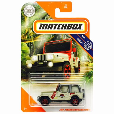 #18 MATCHBOX MBX JUNGLE JEEP WRANGLER ROLLBAR JURASSIC PARK in HERITAGE BOX