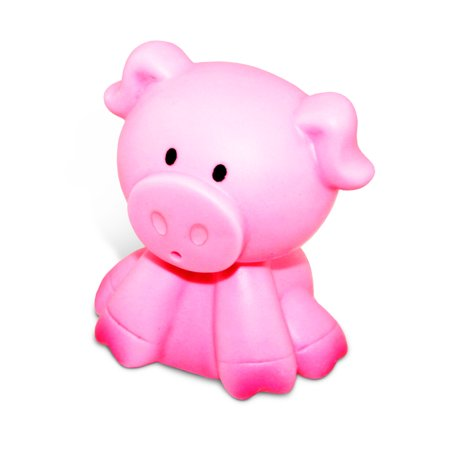 Toddler Bathtime Learning Toy Dollibu Bath Buddies Pink Sitting Pig Rubber Squirter Toy (Multipack of 6) (Rubber Pig)