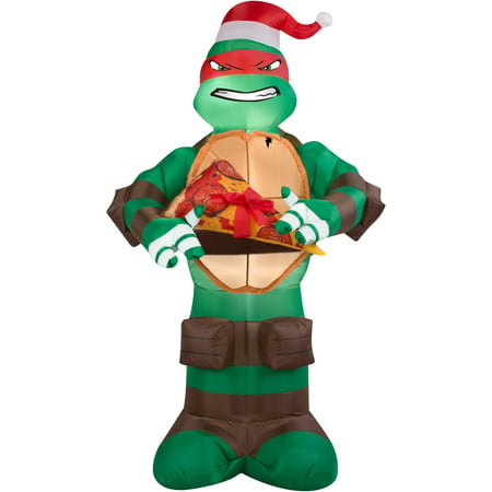Gemmy Airblown Christmas Inflatables Raphael with Pizza Tree, 5'