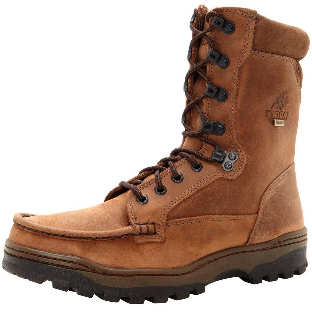 "Rocky Outdoor Boots Mens 8"" Outback WP Hiker Light Brown FQ0008729"