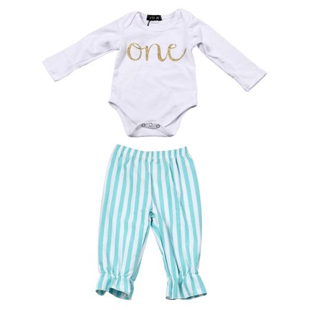 WEIJU Unisex Baby Onesies Long Sleeves Bodysuit & Pant Set for 1-10 Years Child