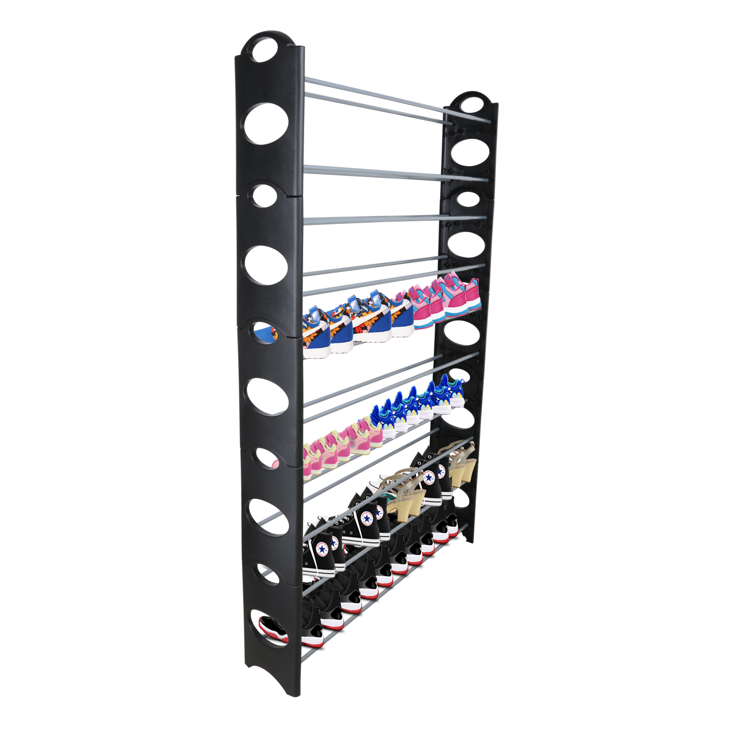 GPCT Stackable 50 Pair Shoe Rack with 10 Stackable Adjustable Shelves