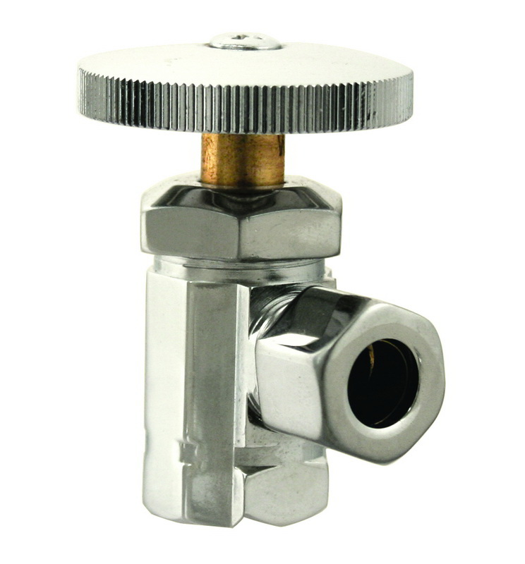WestBrass D1021 Polished Nickel Angle Stop - 1/2 in. IPS x 1/2 in. OD Comp. - Round Handle
