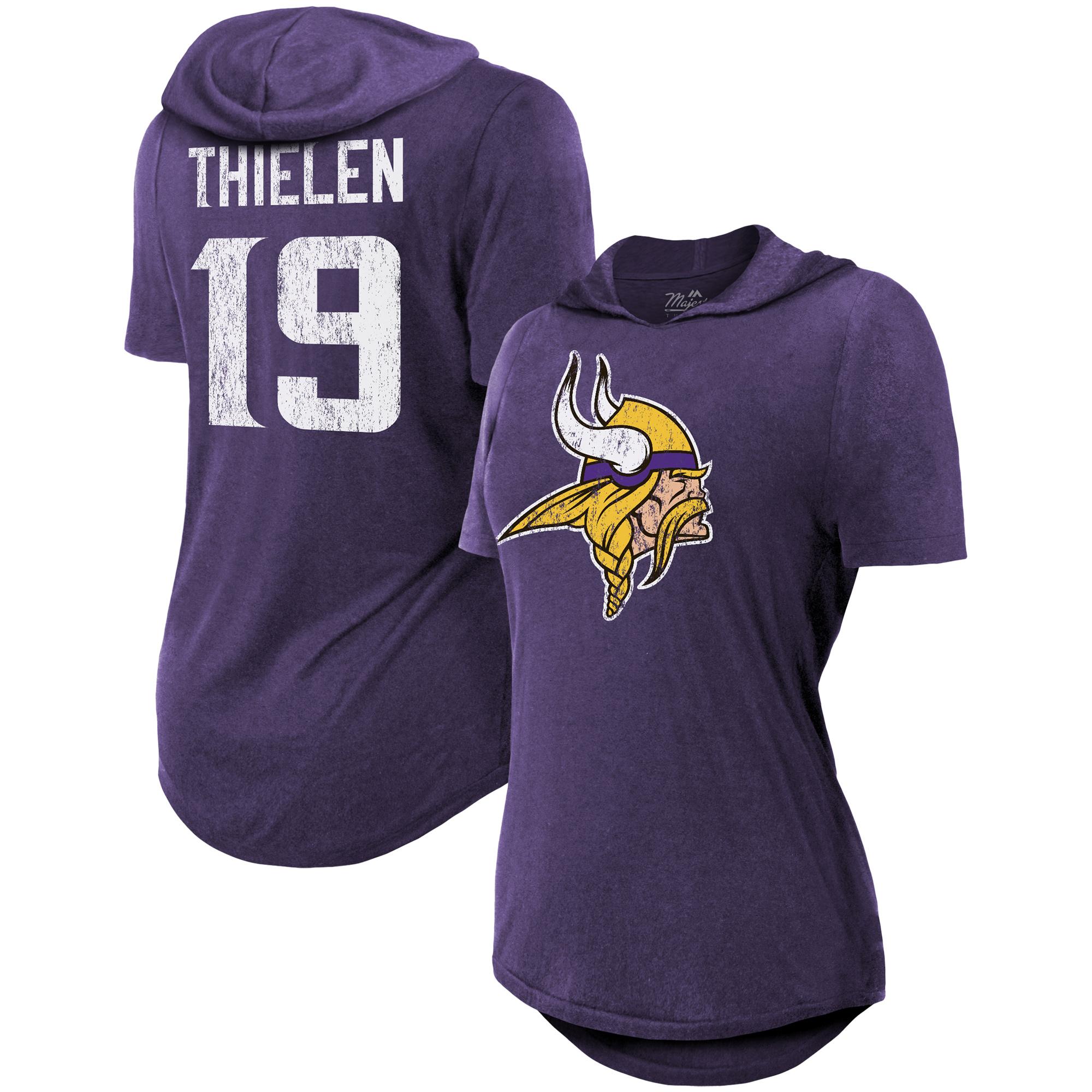 Adam Thielen Minnesota Vikings Majestic Threads Women's Hilo Hooded Name & Number Tri-Blend T-Shirt - Purple