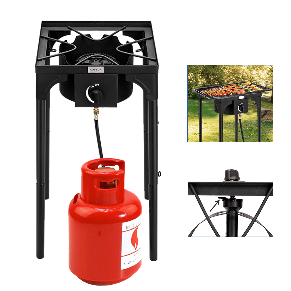 Adjustable Height with CSA Listed Regulator High Pressure Portable Camp Cooking Home Brewing ROVSUN Single Propane Burner Outdoor Gas Stove