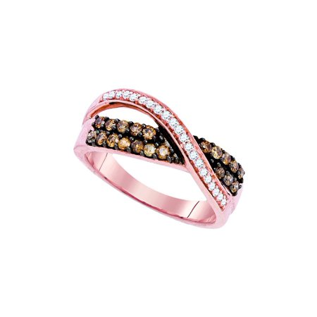 10kt Rose Gold Womens Round Cognac-brown Colored Diamond Crossover Band Ring 1/2 Cttw