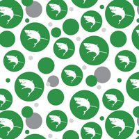 Great White Shark on Green Premium Gift Wrap Wrapping Paper Roll Pattern