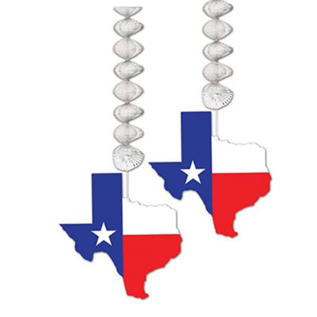 Club Pack of 24 Decorative Red, White and Blue Texas Themed Dangler Decorations 9.5