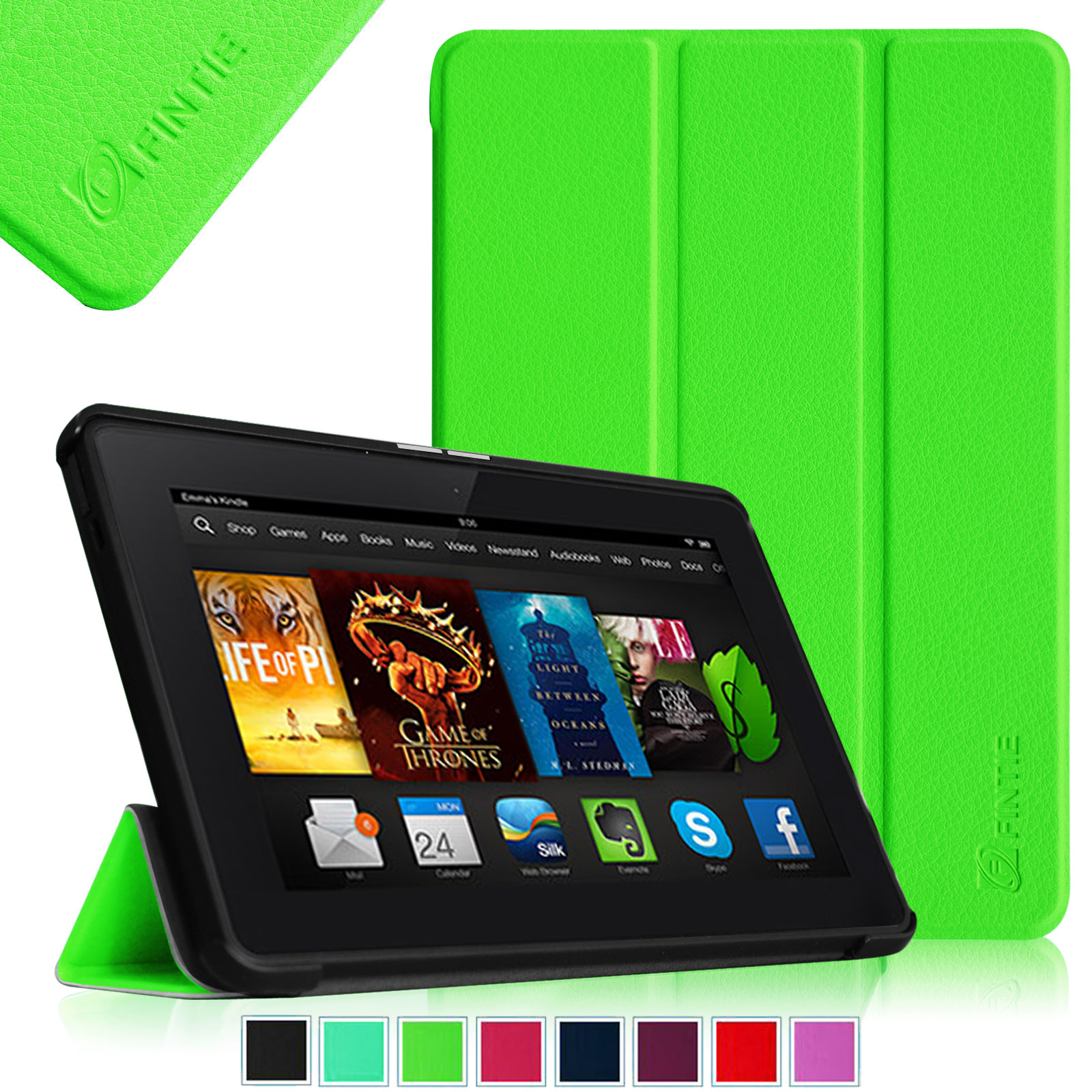 "Fintie Kindle Fire HDX 7"" (2013 Model) SmartShell Case Cover Ultra Slim Lightweight with Sleep / Wake, Green"
