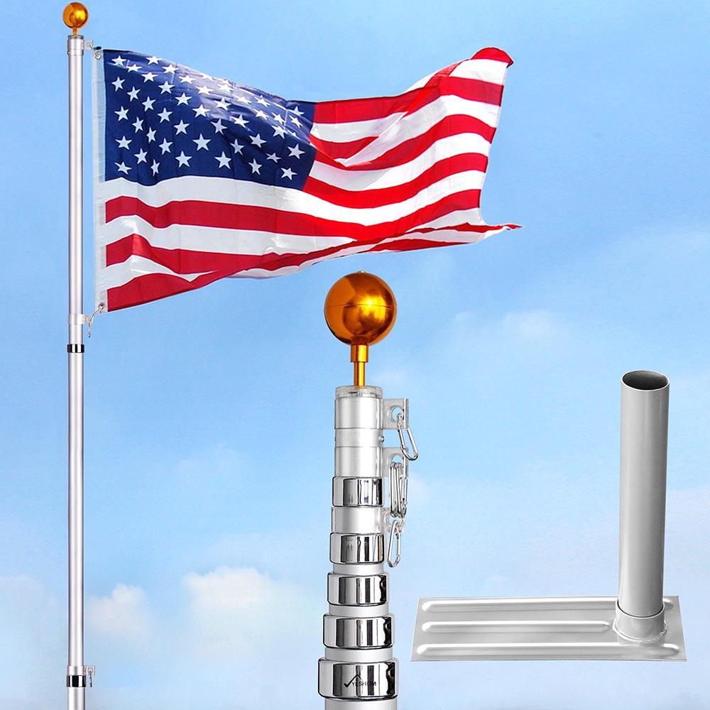 YesHom 20ft/25ft/30ft Telescopic 16 Gauge Aluminum Flagpo...