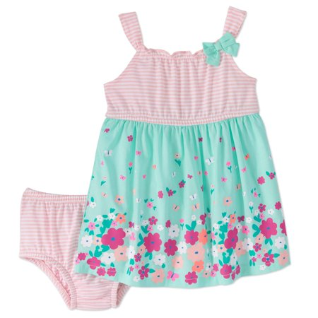 Healthtex Baby Girl Knit and Woven Babydoll Dress & Diaper Cover, 2pc Set
