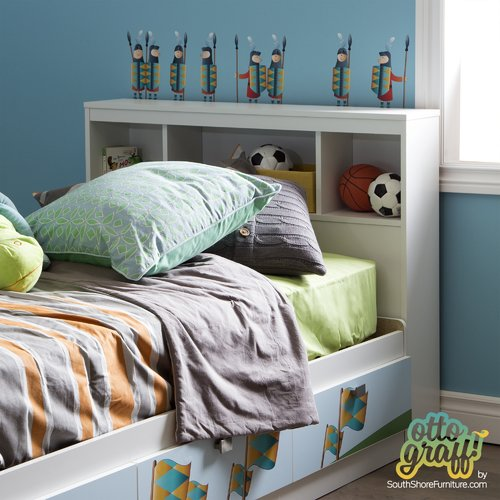 South Shore Andy Twin Bookcase Headboard with Decals by South Shore