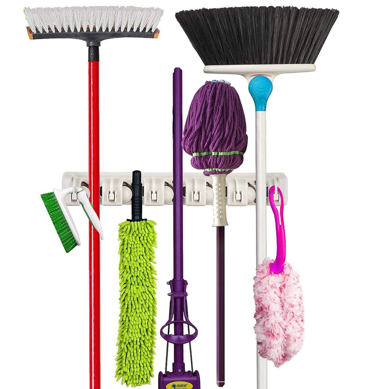 Wall Mounted Mop Organizer Holder Brush Broom Hanger Storage Rack Kitchen Tool White Mop Clip