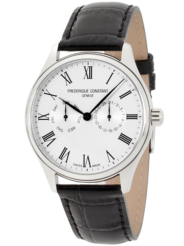 Men's Classic 40mm Black Leather Band Steel Case Quartz White Dial Watch FC-259WR5B6