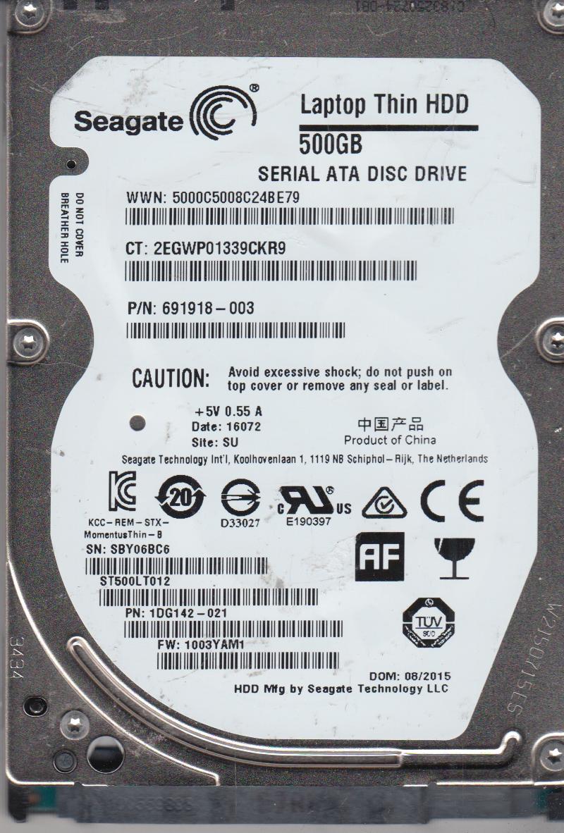 ST500LT012, SBY, SU, PN 1DG142-021, FW 1003YAM1, Seagate 500GB SATA 2.5 Hard Drive by Seagate