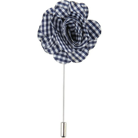 Men's Lapel Flower Handmade Boutonniere Pin for Suit - Gingham Plaid (Blue) - Boys Boutonniere