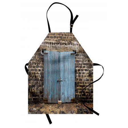 Rustic Apron Stone Wall of Dated Closed Barn Gothic Medieval European Urban City Town Scenery, Unisex Kitchen Bib Apron with Adjustable Neck for Cooking Baking Gardening, Blue Grey, by (Best Walled Cities In Europe)