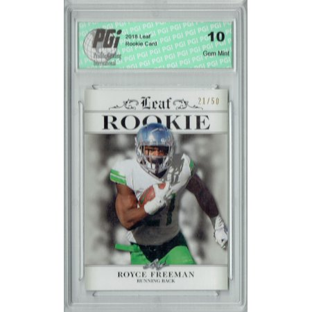 Royce Freeman 2018 Leaf #RA-15 Silver College Jersey #21/50 Rookie Card PGI 10 (Barcelona Jersey 2018 2018)