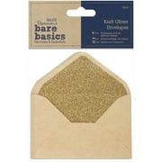 Papermania Bare Basics Glitter Envelopes, 14cm x 10cm, 4pk, Kraft
