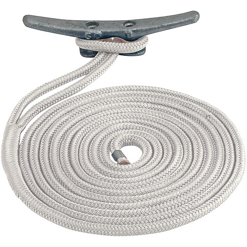 "Sea Dog Dock Line, Double Braided Nylon, 3/8"" x 20', White"