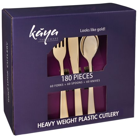 Kaya Collection - Plastic Silverware Set - Gold Cutlery - Disposable Flatware, 60 Forks, 60 Knives and 60 Spoons (180 (Gold Pastry Fork)