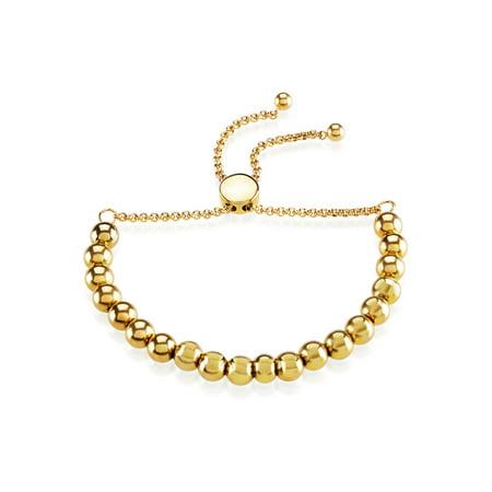 Adjustable Pull-String Beaded Gold Plated Stretch Bracelet (6mm)