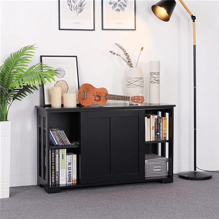 Yaheetech Kitchen Storage Cabinet Buffet Server Table Sideboard Dining Room Wood Black Dining Room Set Sideboard