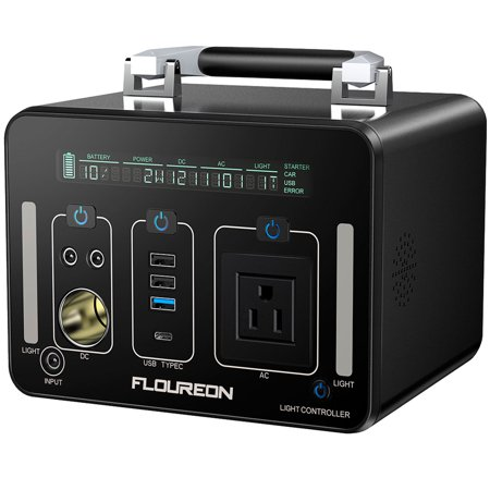 Portable Power Station, FLOUREON 500W Solar Generator for home use with AC Outlet, 12V Car, USB Output Lithium Power Supply for camping Road Trip Emergency Backup ()