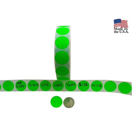 Color Coding Labels + Water Resistant Seals Super Bright Neon Green Round Circle Dots For Organizing Inventory 1 Inch 500 Total Round Office Seals