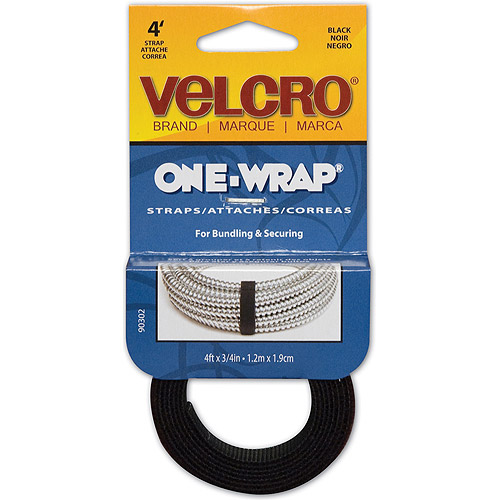 "Velcro One-Wrap Straps, Black, 3/4"" x 36"""