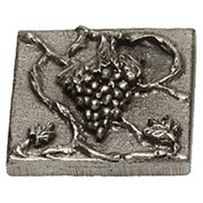 Premier Hardware Designs PHDT-2-NP Polished Nickel Grape Tile with Vine, 2 x 2 Inch