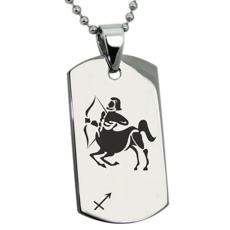 Stainless Steel Sagittarius Astrology Zodiac Sign Engraved Dog Tag (Sagittarius Zodiac Charm)