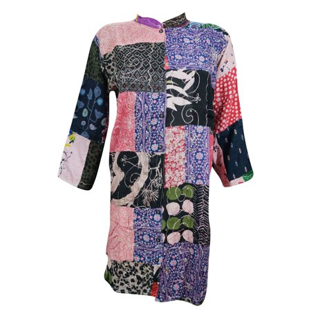 Mogul womens tunic dress patchwork embroidered boho style for Chaise patchwork xl style