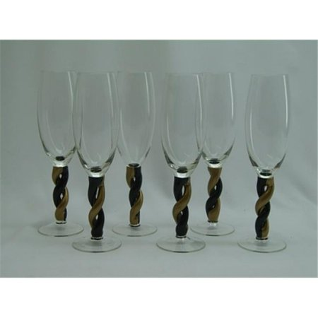 Gold/ Black Twisting Stem Champagne Flute Glass - Set of 6