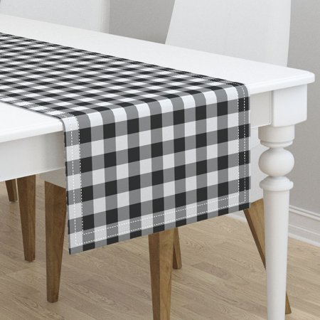 Table Runner Gingham Black And White Check Plaid Tartan Greyscale Cotton Sateen](Gingham Table Runners)