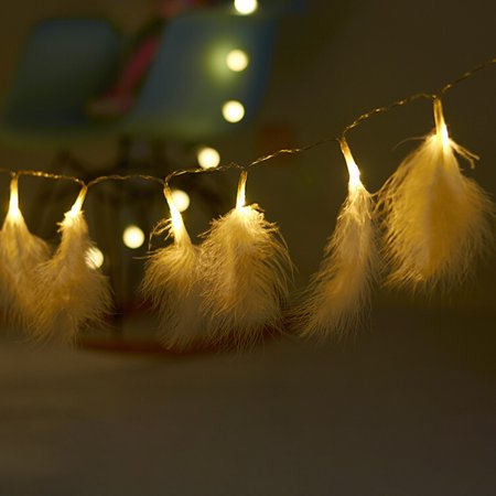 Romantic Feather String Light, 3.9FT 10LEDs Decorative Fairy Lamp, Battery Operated - image 4 of 7