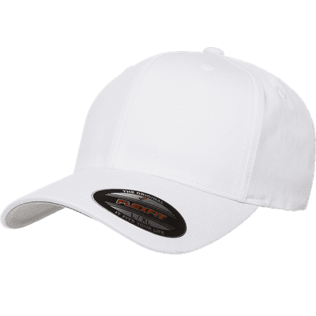 The Hat Pros Blank Flexfit V-Flexfit Cotton Twill Fitted Hat Cap Flex Fit 5001 Small/Medium – White