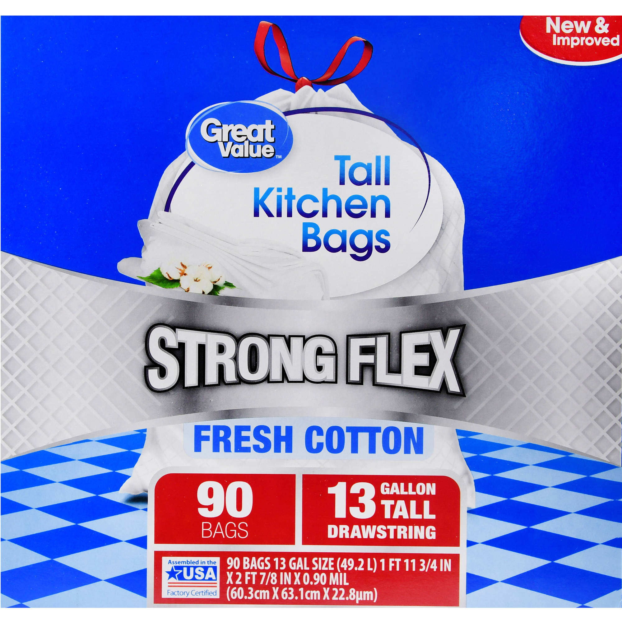 Great Value Strong Flex Tall Kitchen Drawstring Trash Bags, Fresh Cotton, 13 Gallon, 90 Count