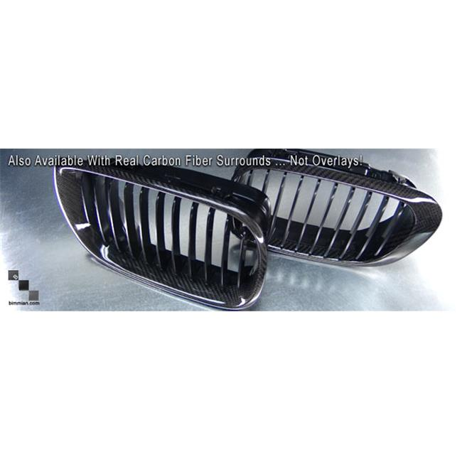 Bimmian GRL604CFB Painted Shadow Grille- Front Grille Pair For E60 2004Plus & M5- Black Carbon Fiber