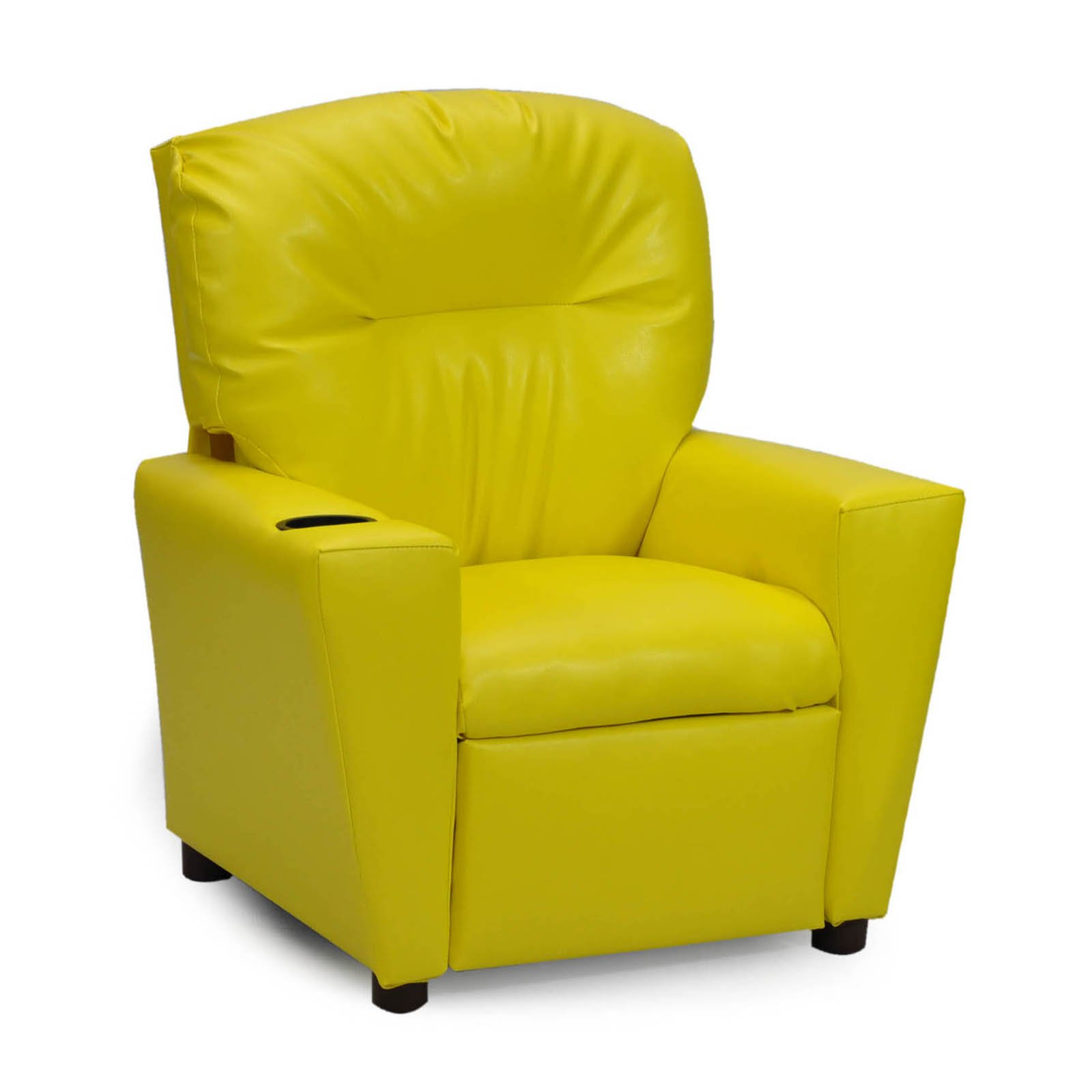 Kidz World Recliner with Cup Holder - Yellow Vinyl