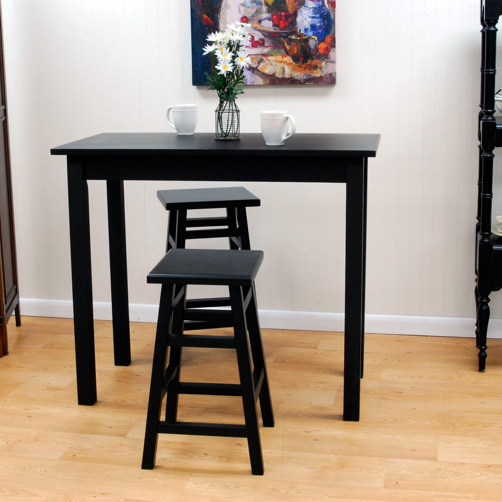 Carolina Tavern 3 Piece Black Pub Table Set   With Tavern Black Backless  Stools   Walmart.com