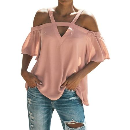 LMart Women V Neck Cold Shoulder Short Sleeve Solid Color Top Blouse