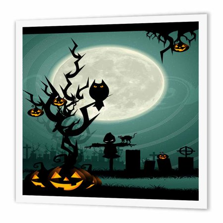 3dRose A Scary Halloween Scene With A Pumpkin, Haunted Tree Under A Big White Moon, Iron On Heat Transfer, 10 by 10-inch, For White Material