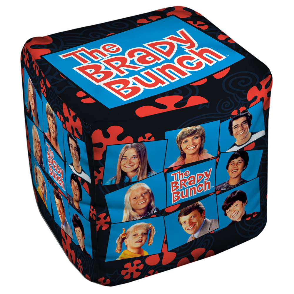The Brady Bunch Squares Cube(Ottoman) White 18X18X18