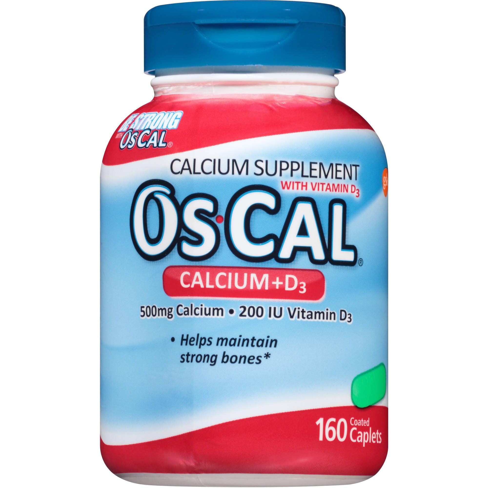 OsCal 500 mg Calcium + 200 IU Vitamin D3 Caplets Calcium Supplement, 160 count